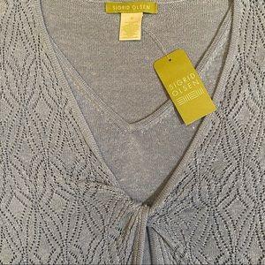 NWT Sigrid Olsen Angel Blue Mock Cardigan Sweater